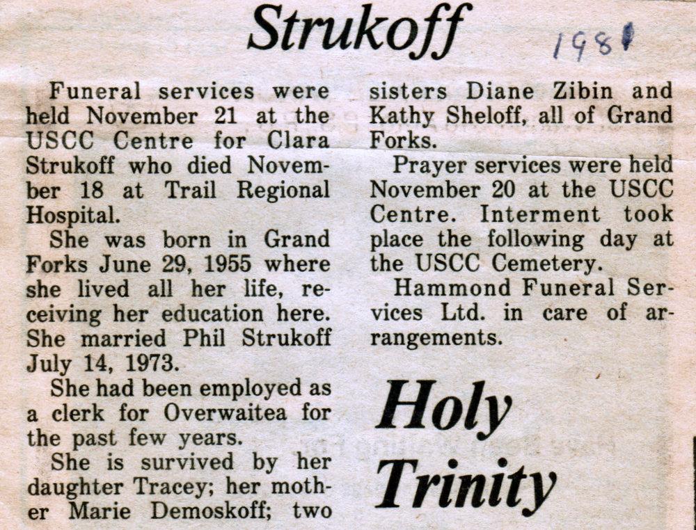 Clara Strukoff obituary 1981