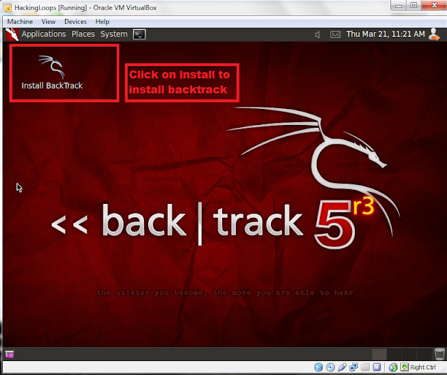 Click Install Backtrack Icon to Begin Set up