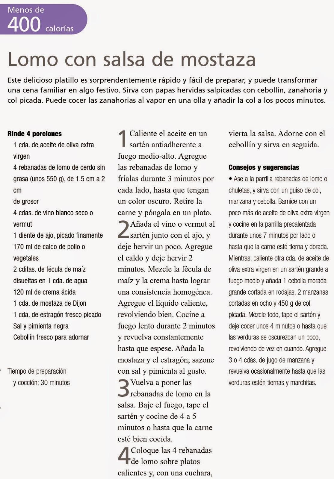RECETAS BAJAS EN CALORIAS: LOMO CON SALSA DE MOSTAZA