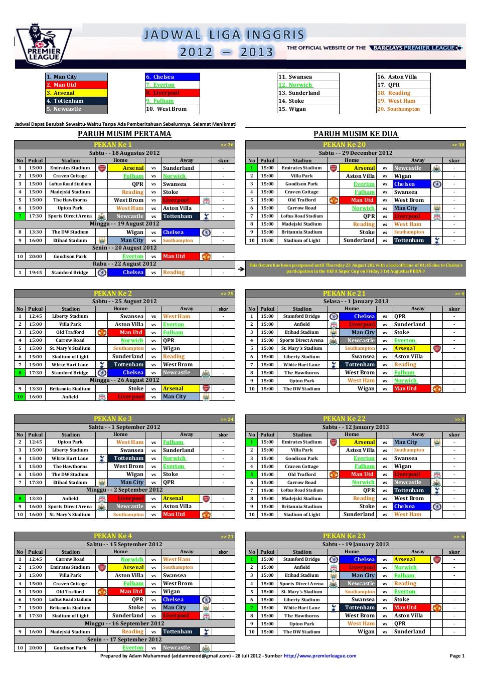 Jadwal Liga Premier Inggris 2012 2013 Lengkap   Hal 1 Jpg