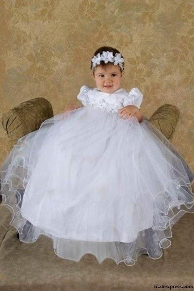 Magnifique Robe de baptême longue bébé fille