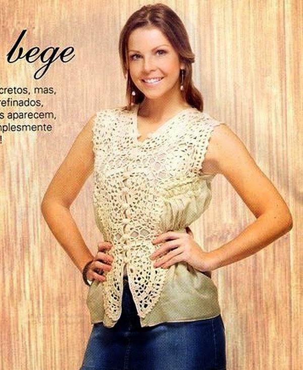 Blusa beige con aplique al crochet - con patrones