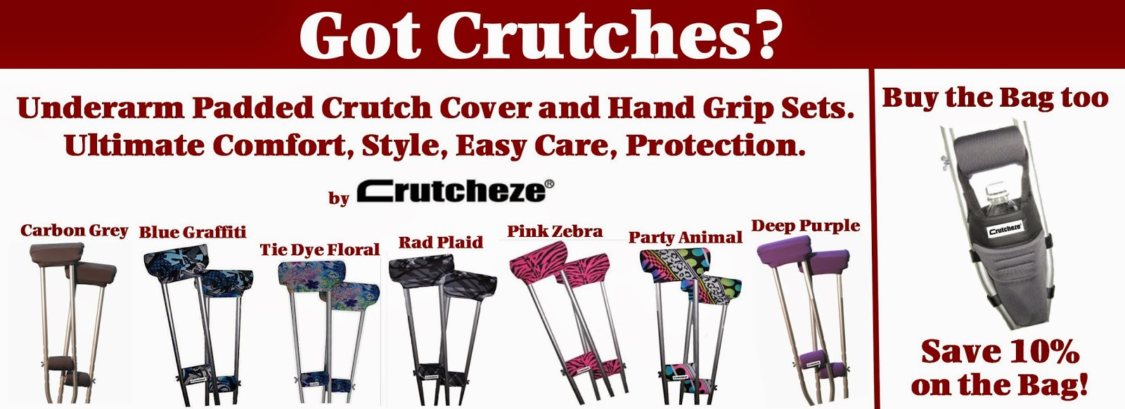 Crutcheze pads and hand grips for crutches
