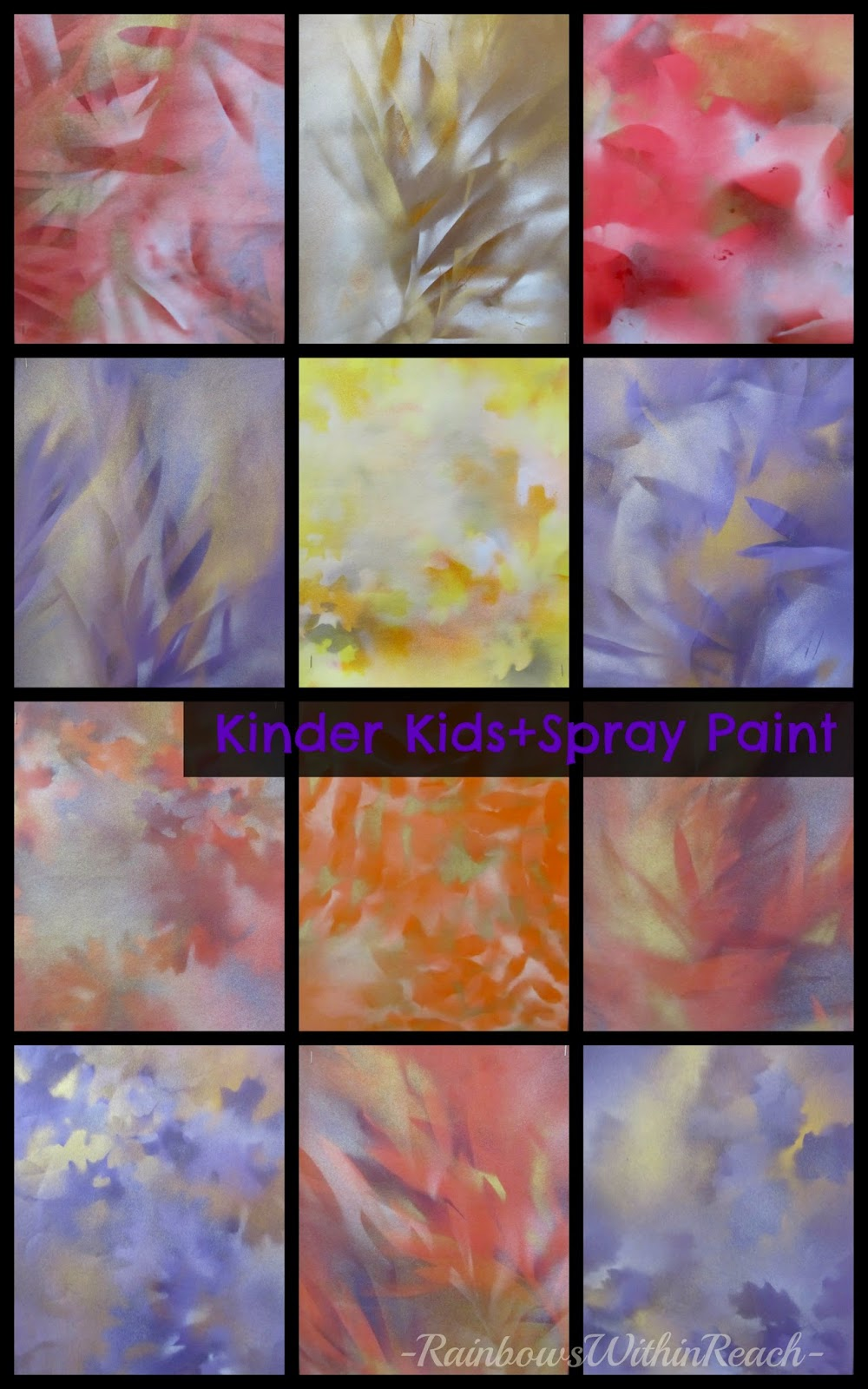 Kindergarten SPRAY-Painted Nature Stems: Works of Art at RainbowsWithinReach