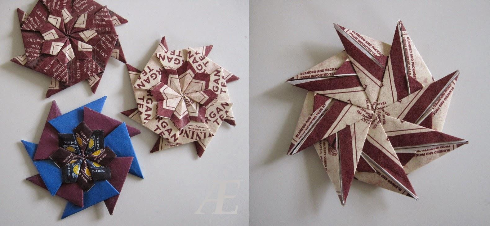 DIY stjerner foldet af genbrugs tebreve.