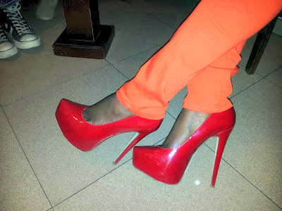 red pumps and  stylish black girls