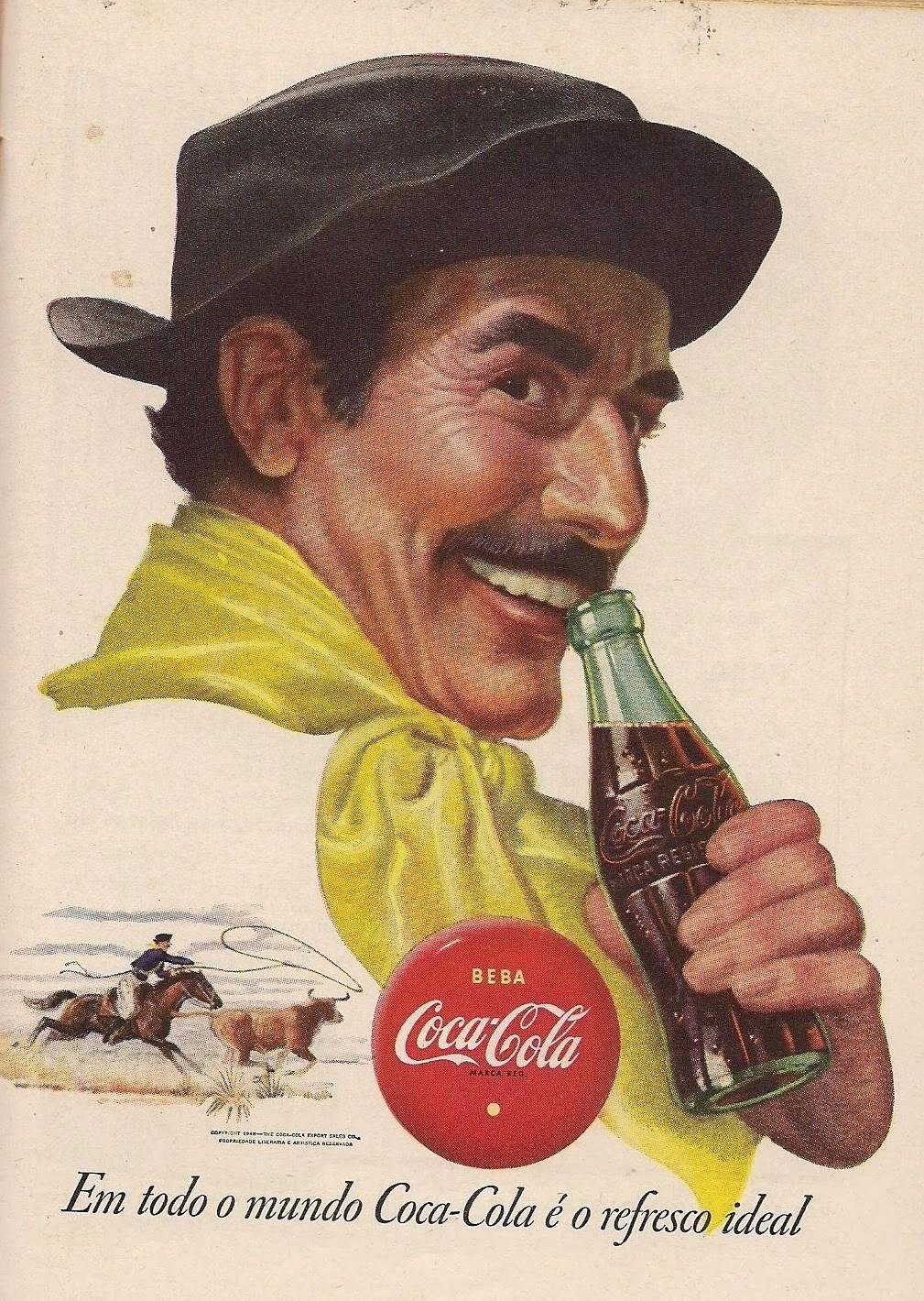 Propaganda antiga da Coca-Cola nos anos 40 - vaqueiro brasileiro.