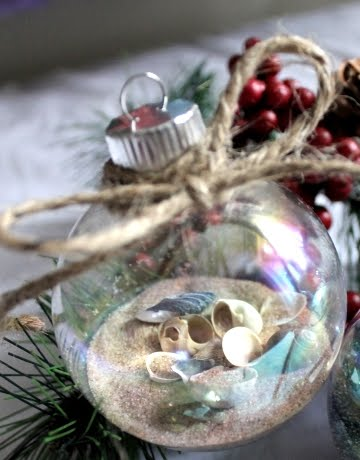 filled clear glass ball ornaments