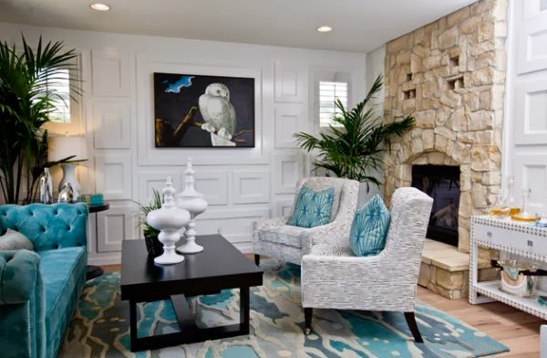 Gray and Turquoise Living Room