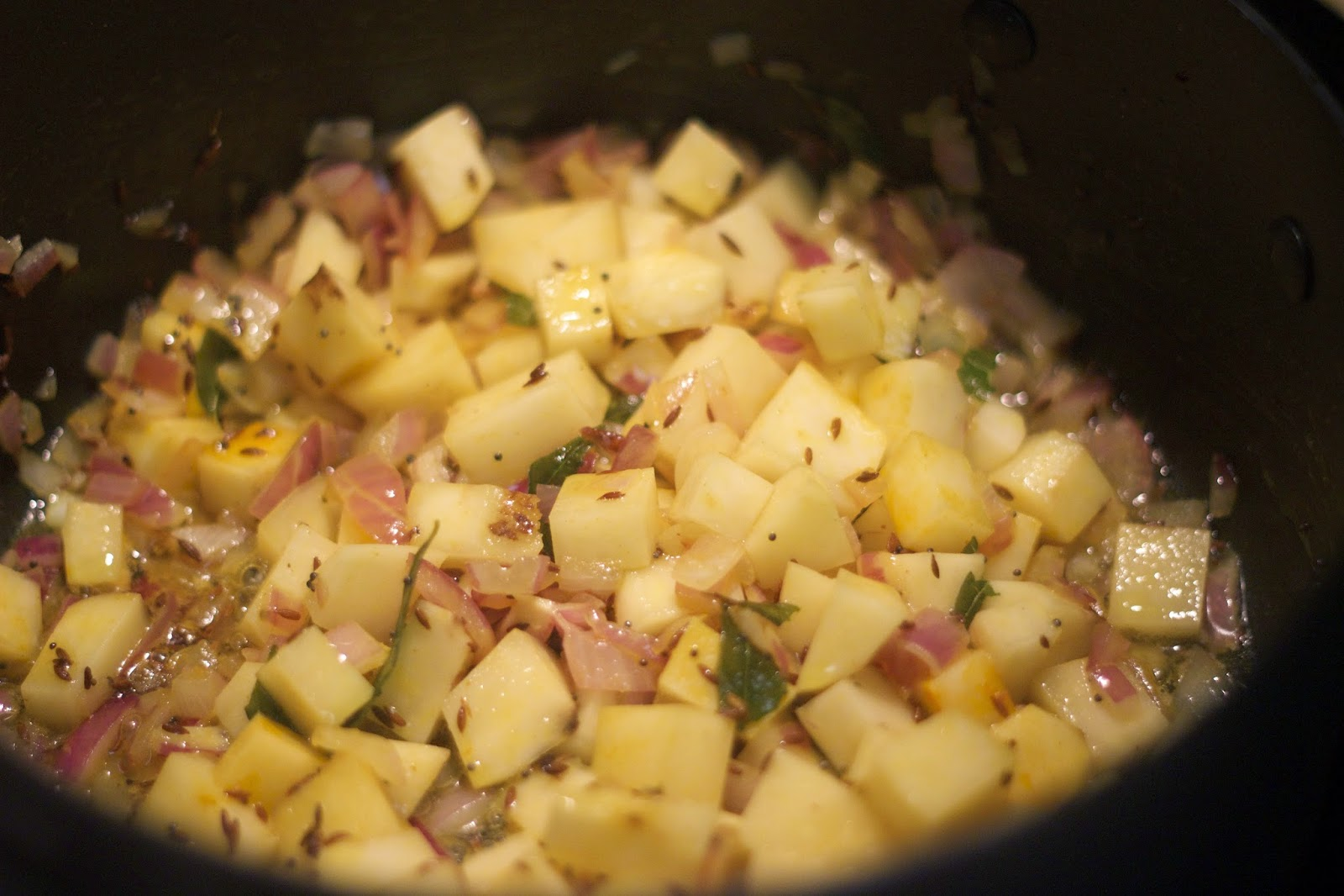 Before Picture: Adding Potatoes to Vegetarian Vegan Batata / Potato Poha Indian Breakfast