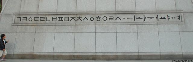 Alfabeto hangeul de Corea tal como fue ideado en 1446