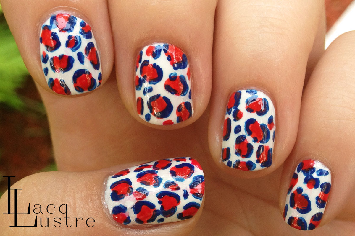 LacqLustre: Red, White, and Blue Cheetah Print Nail Art for 4th of