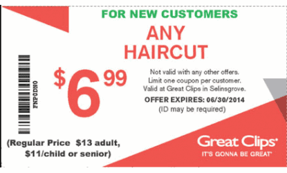 Shopping Tips for Great Clips: 1. Want to skip the line? Download the free Great Clips mobile app and use it to check-in before you arrive. 2. If you visit the salon regularly, ask about the free Clip Notes program which lets stylists record your style requests.