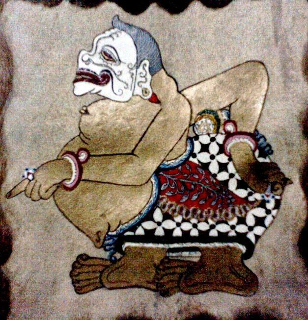 Painting of Semar on a Javanese wayang