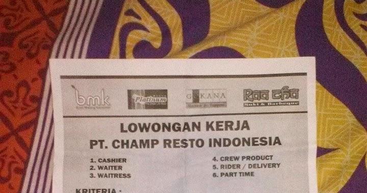 Lowongan Kerja PT. Cham Resto Indonesia JADETABEK - Gudang ...
