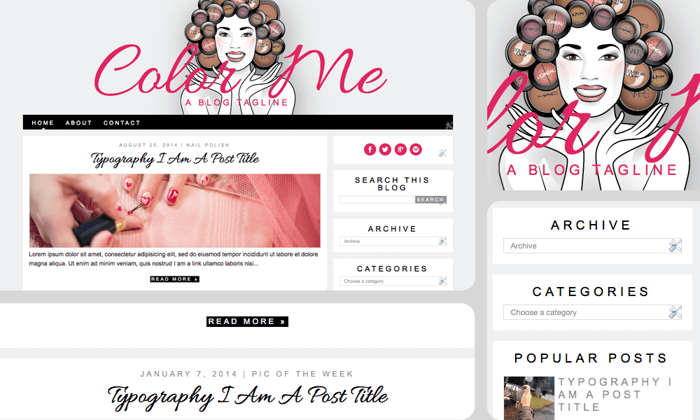 girly chic minimalist makeup beauty blog template / theme for blogspot bloggers