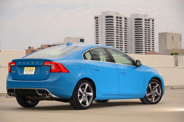 Rear 3/4 view of blue 2013 Volvo S60 T6 R-Design