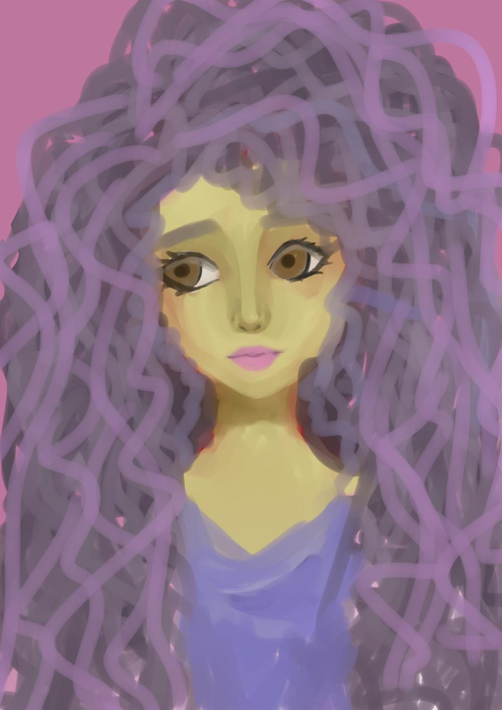 Minhas ilustrações, desenho, ilustrações, blog exalando purpurina,  garota, garota de cabelo roxo, cacheada