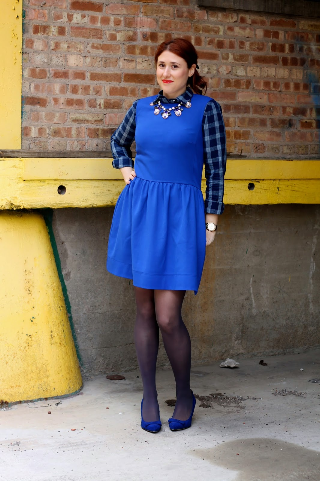 fit, flare, dress, cobalt, gap
