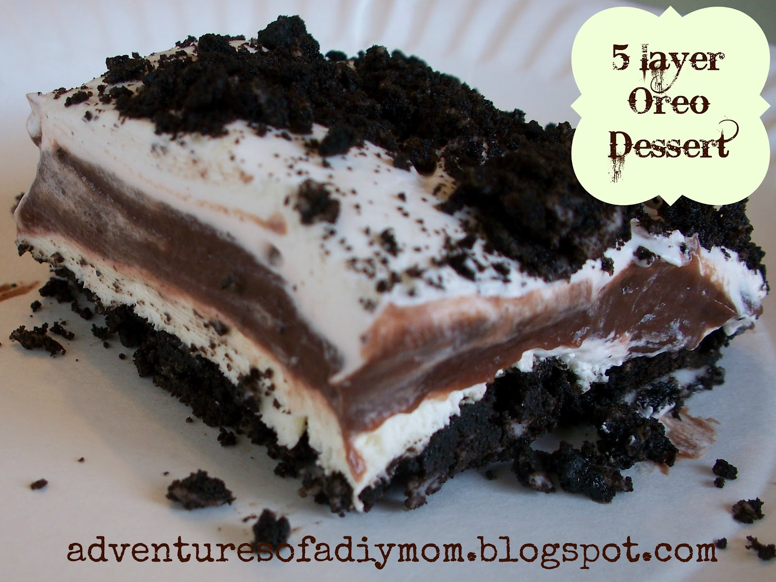 Oreo Whip Cream Pudding Dessert http://www.nap-timecreations.com/2012/08/five-layer-oreo-dessert-and-tasteful.html