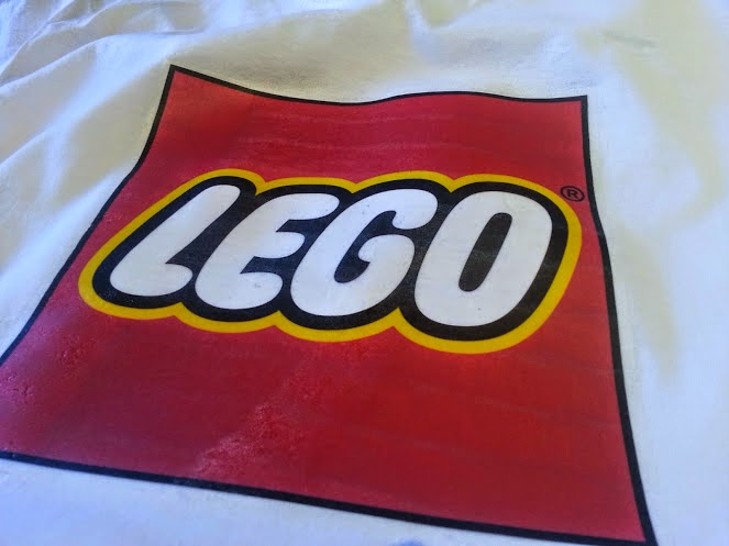 LEGO Transfer ironed in place on t shirt