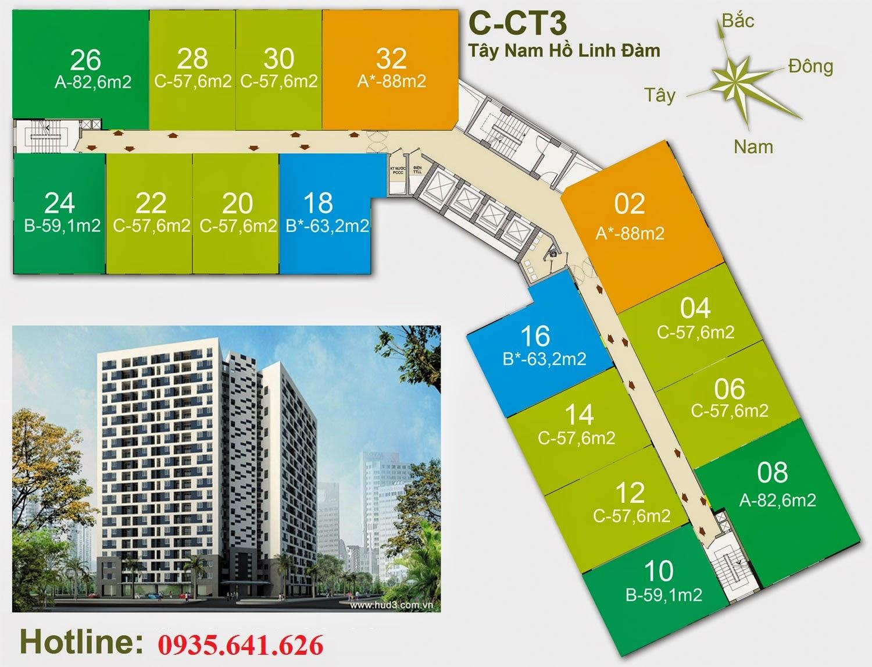 Chi Tiết vị trí số căn hộ thuộc tòa Chung Cư CT3 Tây Nam Linh Đàm