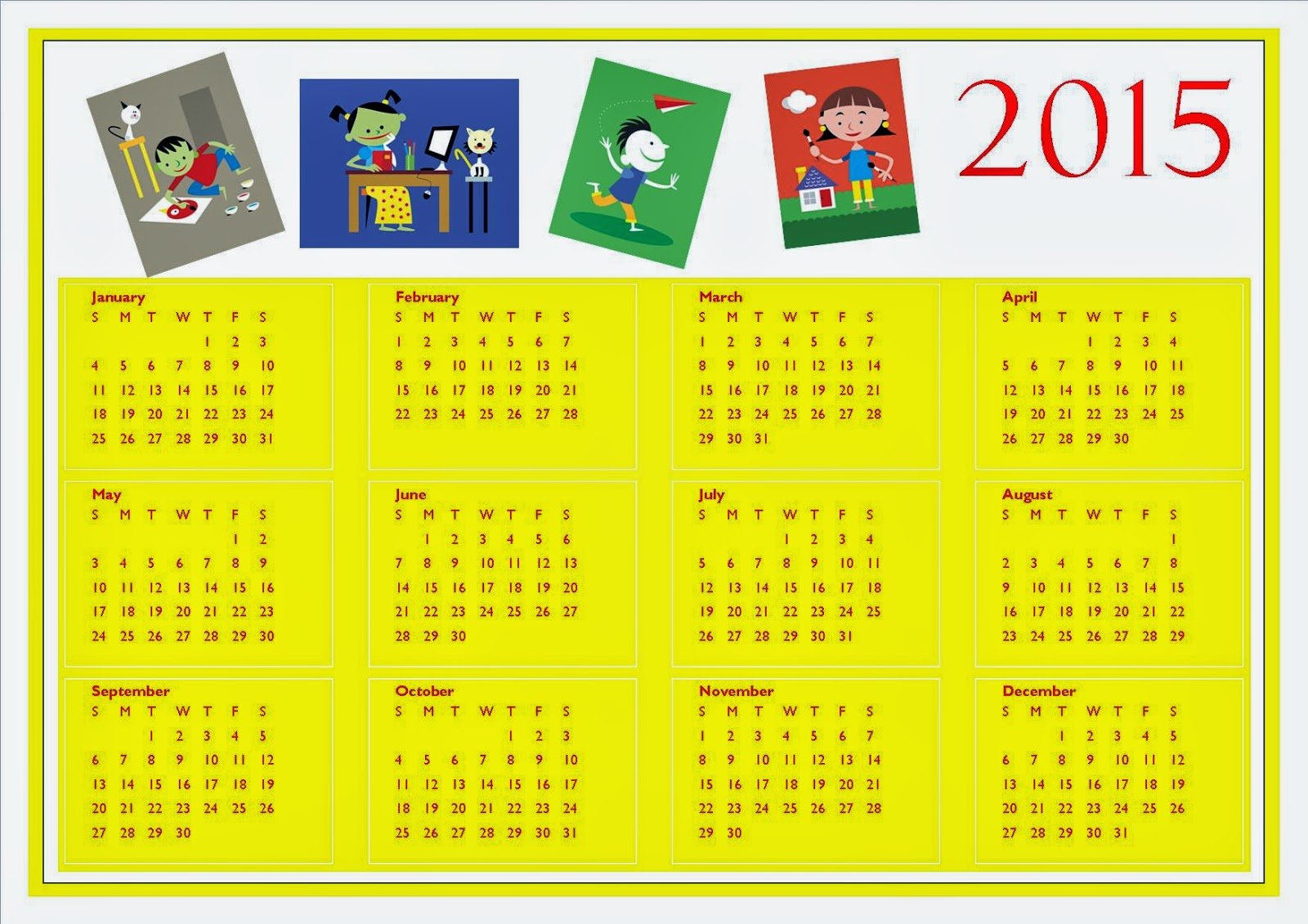 Free Printable 2015 Calendar For Kids