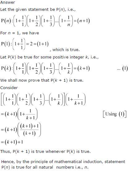 (1 + 1/1)(1 + 1/2)(1 + 1/3)…(1 + 1/n) = (n+1)