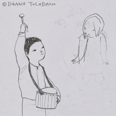 Sketch of a boy with a drum by Diana Toledano