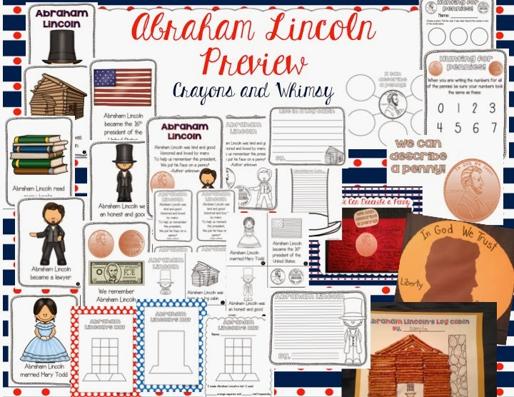 Abraham Lincoln Mini Unit Crayons and Whimsy