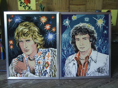 70s french singers 'canvas tapestry canevas tapisserie weird johnny hallyday michel sardou