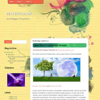 WaterColor Blogger Template. blogger template from wordpress theme. girly blogger template