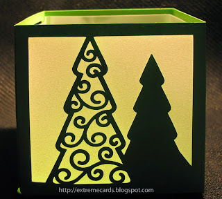 Bird's cards Christmas swirl tree lantern