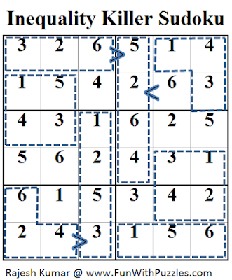 Inequality Killer Sudoku (Mini Sudoku Series #34) Solution