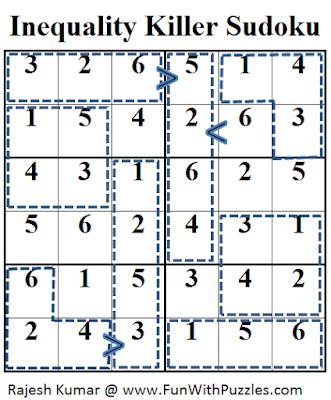 Inequality Killer Sudoku (Mini Sudoku Series #34) Solution