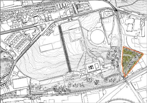 Parcela propuesta para la construcción de un gran aparcamiento disuasorio que consiga hacer un barrio libre de coches.