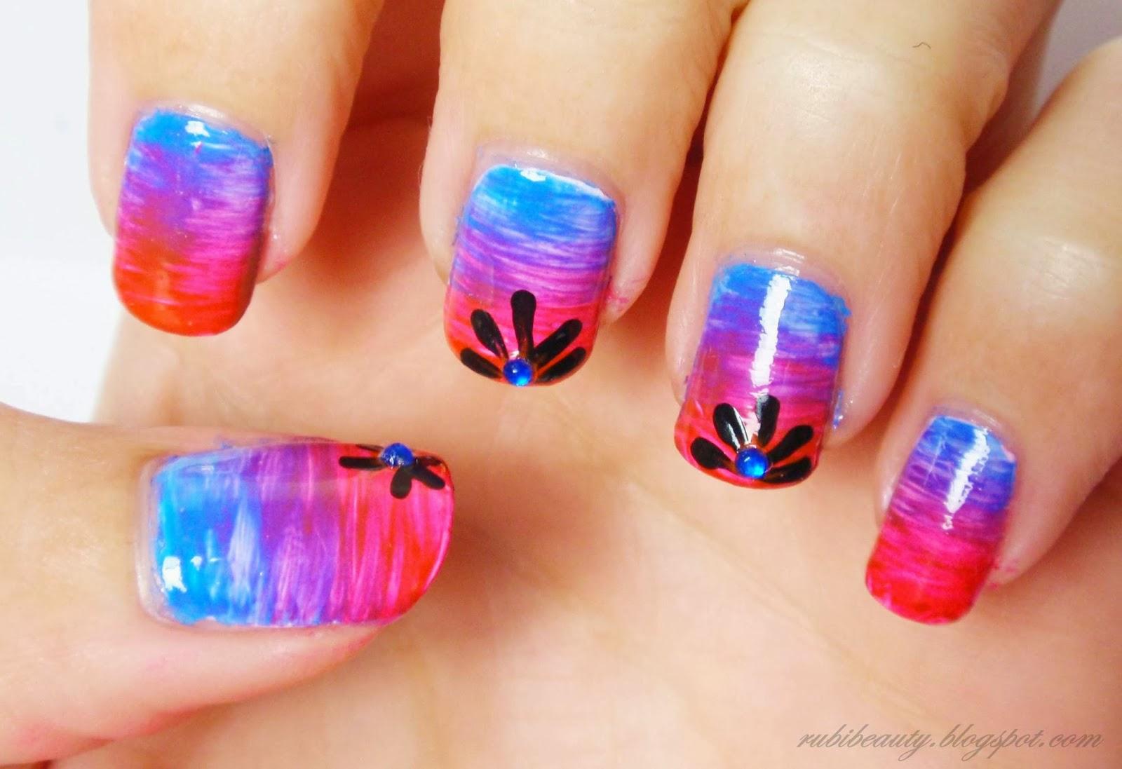 rubibeauty nail art diseño uñas sencillo pintura acrilica degradado free hand