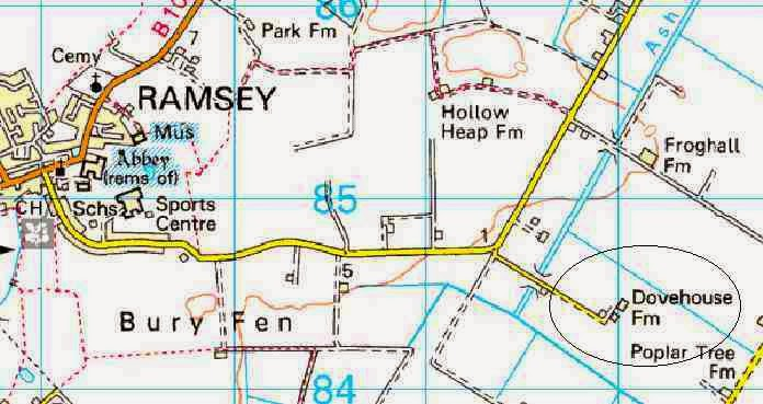 Location of Dovehouse Farm near Ramsey, Huntingdonshire where Josef Jakobs landed by parachute