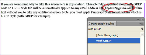 Paragraph Style with GREP applied