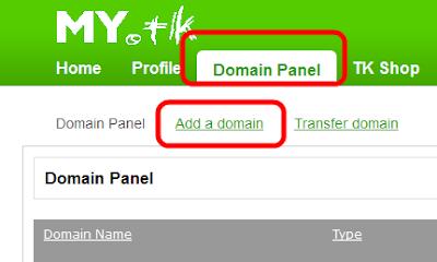 Панель доменных имен на dot.tk