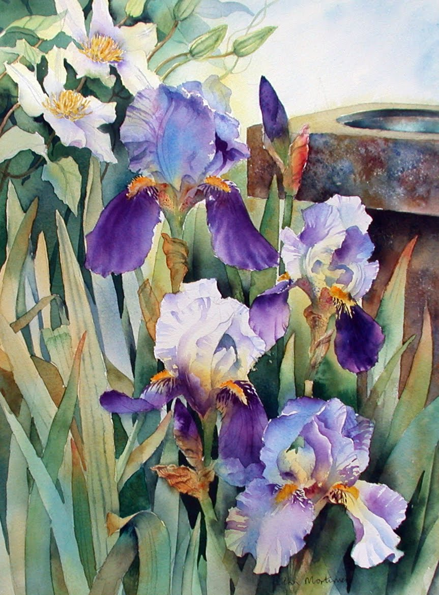 Irises and Clematis