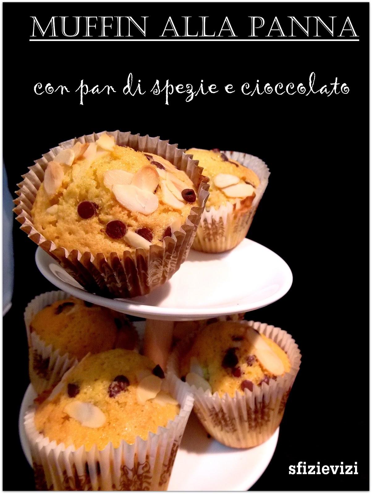 muffin alla panna (di soia) con pan di spezie e cioccolato, ovvero come usare la panna che avanza