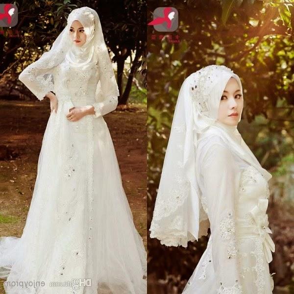 desain gaun pengantin muslimah