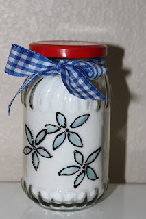 jar tied with ribbon