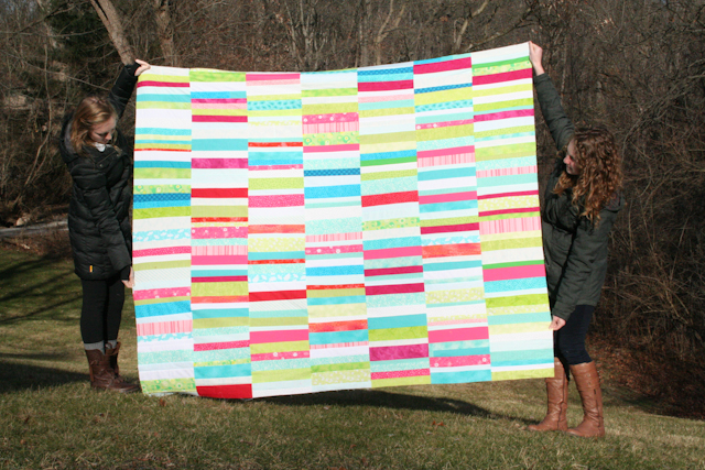 scrappy charity quilt from Amanda Jean Nyberg's Sunday Morning Quilts | by Lovely and Enough