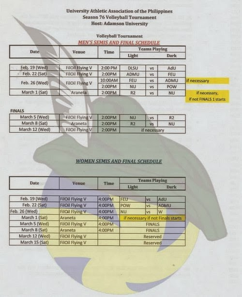 UAAP 76 Women's Volleyball Final 4 (Semis) and Finals Schedule: Check