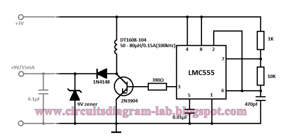 simple 3 volt to 9 volt with lmc555 circuit diagram