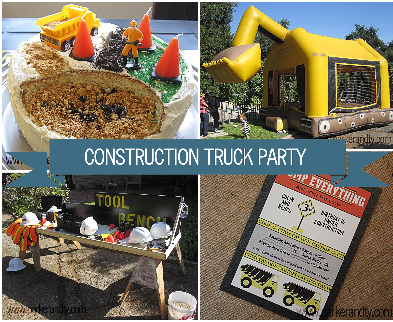 Spotted Ink Construction Truck Party Invitations – Dump Truck Party Invitations
