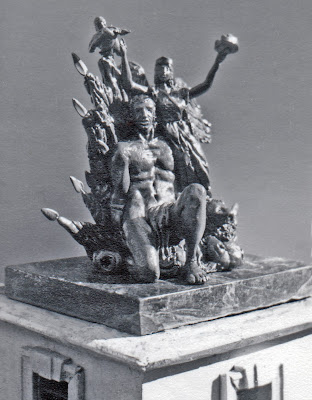 b/w image of replica of Versailles gate block sculptures by G. S. Stuart