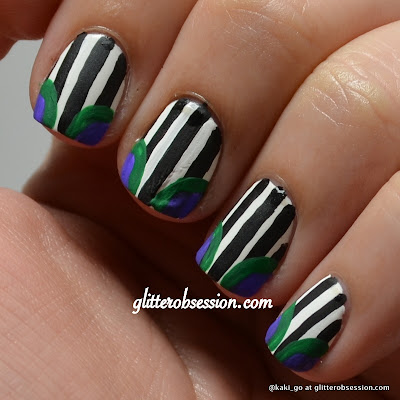 Striped bathing suit nail art
